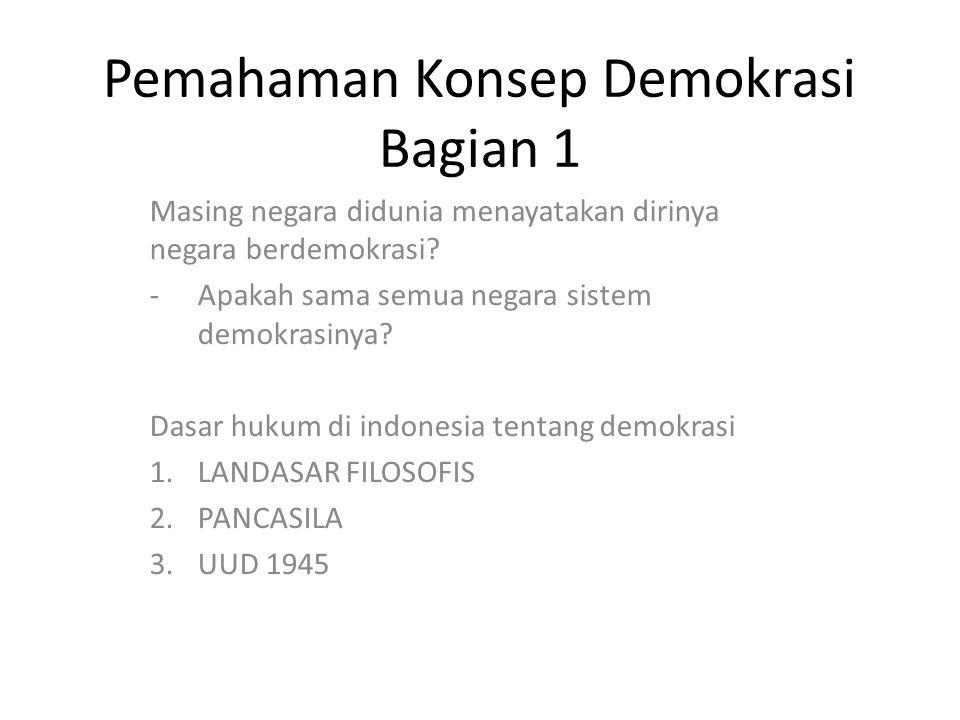 Pemahaman Konsep Demokrasi Bagian 1 Masing negara didunia menayatakan dirinya negara berdemokrasi? -Apakah sama semua negara sistem demokrasinya? Dasa