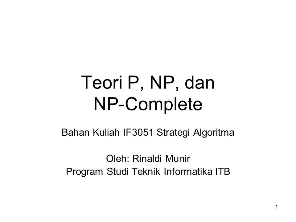 1 Teori P, NP, dan NP-Complete Bahan Kuliah IF3051 Strategi Algoritma Oleh: Rinaldi Munir Program Studi Teknik Informatika ITB
