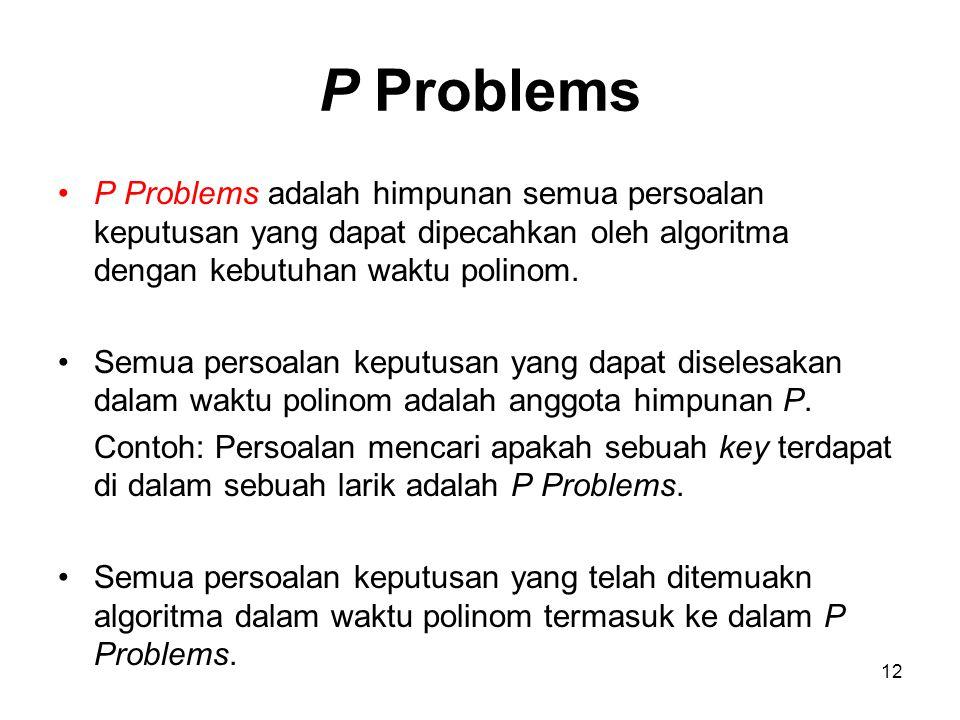 12 P Problems P Problems adalah himpunan semua persoalan keputusan yang dapat dipecahkan oleh algoritma dengan kebutuhan waktu polinom. Semua persoala