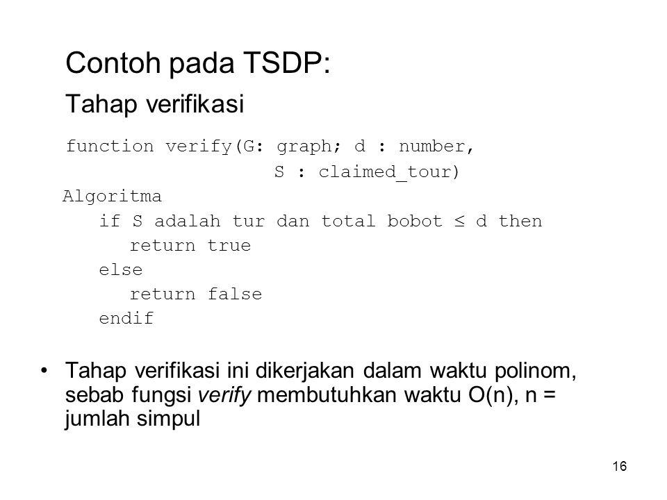 16 Contoh pada TSDP: Tahap verifikasi function verify(G: graph; d : number, S : claimed_tour) Algoritma if S adalah tur dan total bobot  d then retur