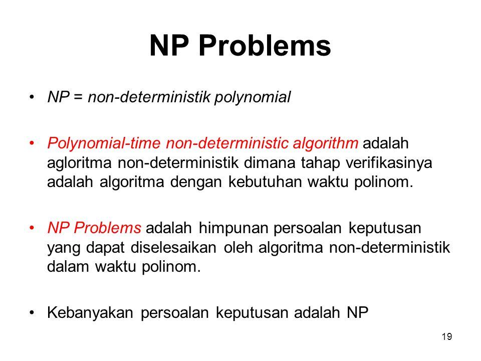 19 NP Problems NP = non-deterministik polynomial Polynomial-time non-deterministic algorithm adalah agloritma non-deterministik dimana tahap verifikas