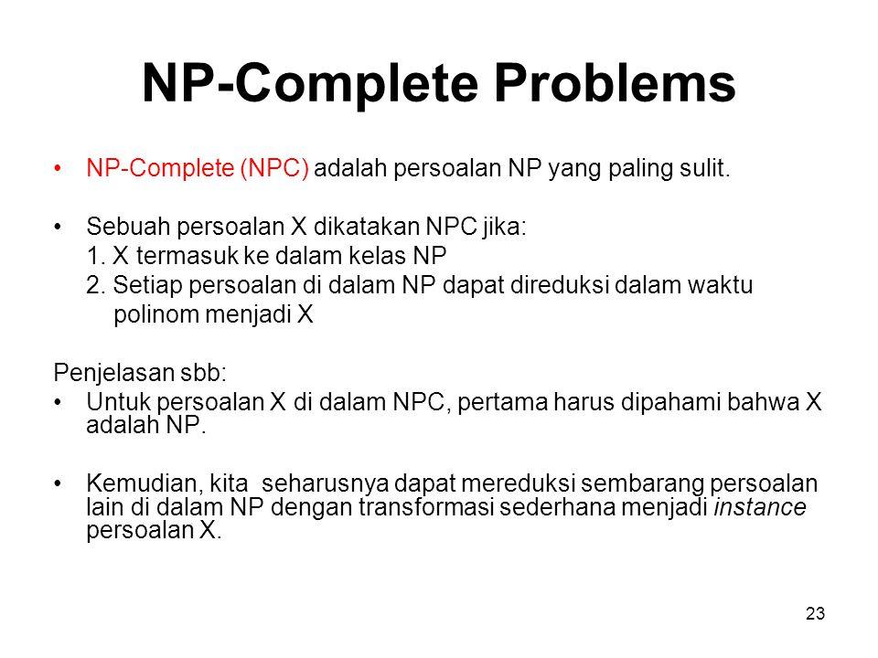 23 NP-Complete Problems NP-Complete (NPC) adalah persoalan NP yang paling sulit. Sebuah persoalan X dikatakan NPC jika: 1. X termasuk ke dalam kelas N
