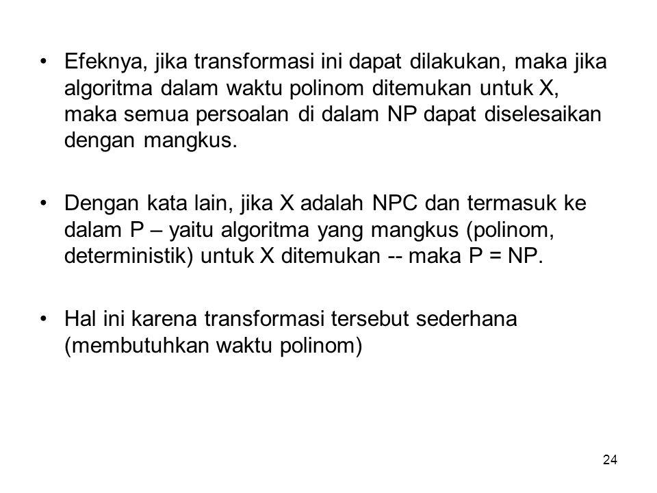 24 Efeknya, jika transformasi ini dapat dilakukan, maka jika algoritma dalam waktu polinom ditemukan untuk X, maka semua persoalan di dalam NP dapat d