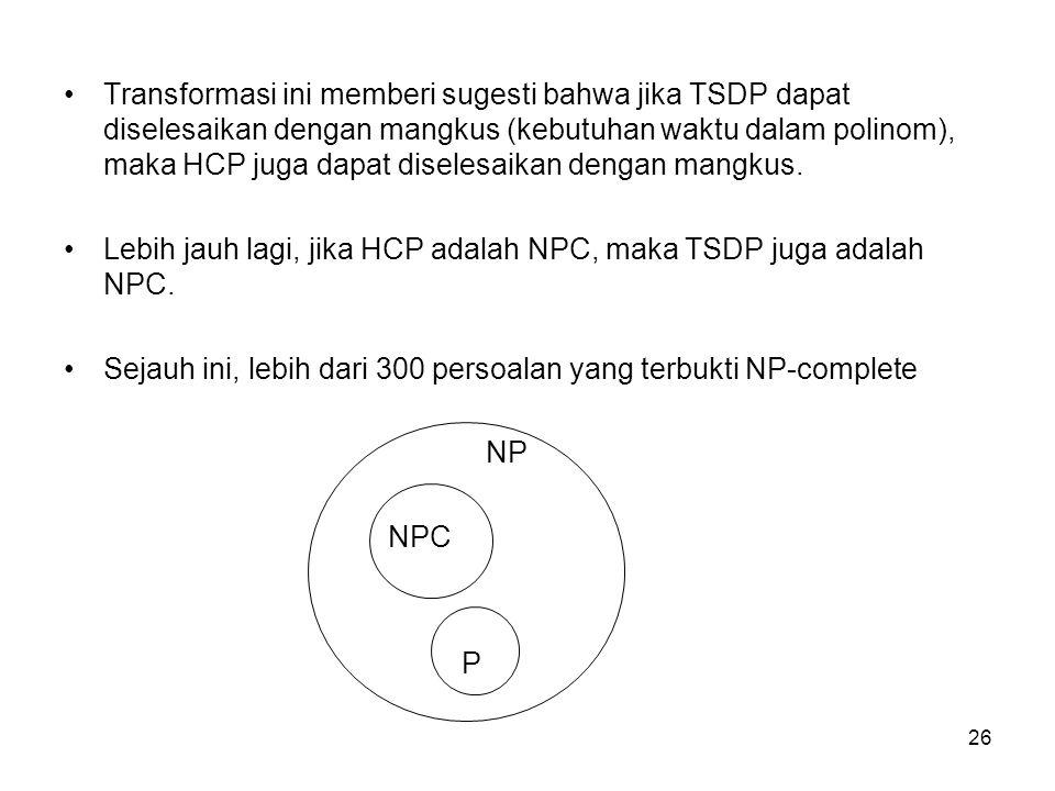 26 Transformasi ini memberi sugesti bahwa jika TSDP dapat diselesaikan dengan mangkus (kebutuhan waktu dalam polinom), maka HCP juga dapat diselesaika