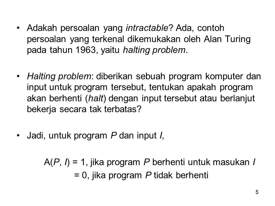 5 Adakah persoalan yang intractable? Ada, contoh persoalan yang terkenal dikemukakan oleh Alan Turing pada tahun 1963, yaitu halting problem. Halting
