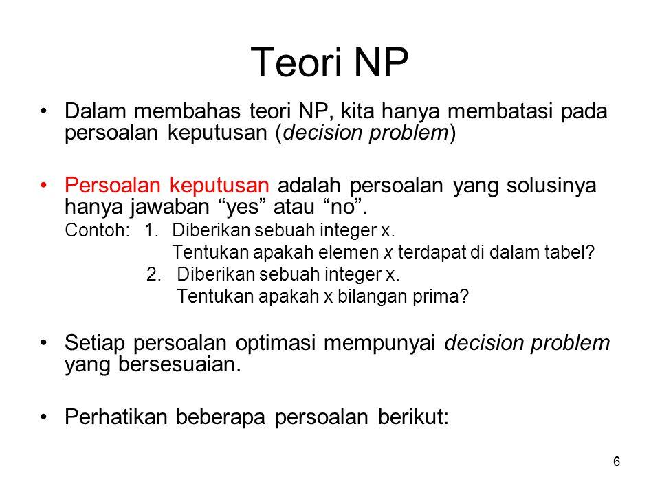 6 Teori NP Dalam membahas teori NP, kita hanya membatasi pada persoalan keputusan (decision problem) Persoalan keputusan adalah persoalan yang solusin