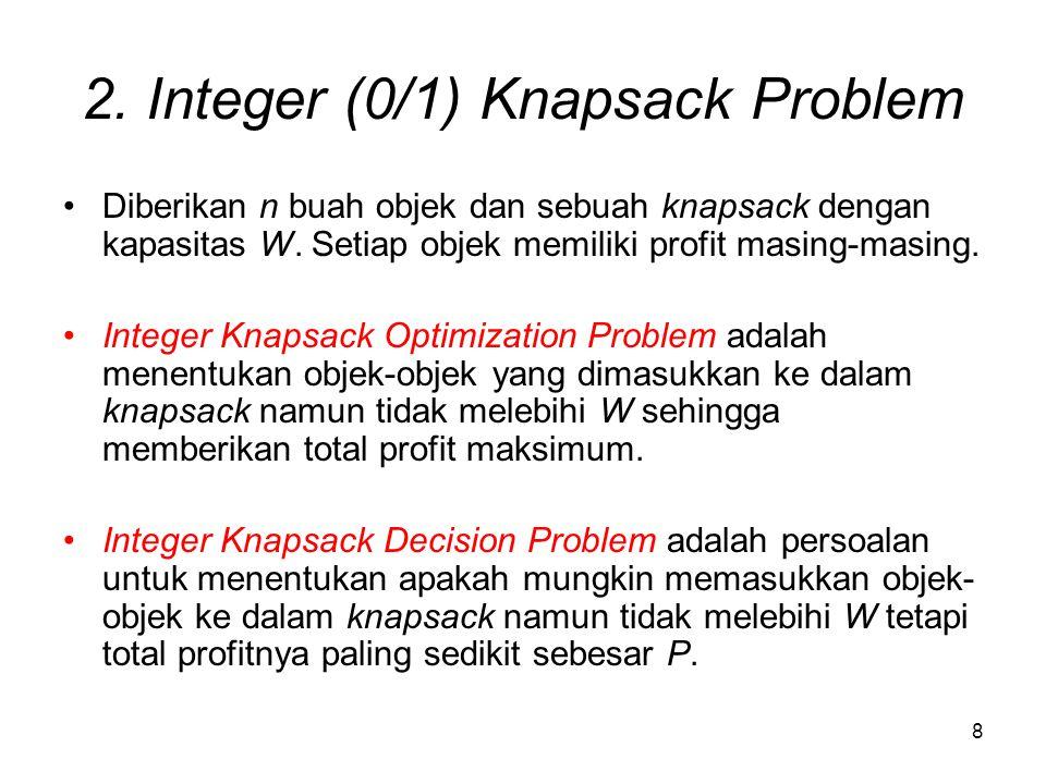 8 2. Integer (0/1) Knapsack Problem Diberikan n buah objek dan sebuah knapsack dengan kapasitas W. Setiap objek memiliki profit masing-masing. Integer