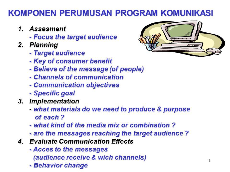 2 PROSES PENGEMBANGAN PROGRAM KOMUNIKASI The P-Process 1.Analisis 2.Perancangan Strategis 3.Pengembangan, Pre Testing, dan Produksi 4.Manajemen Implementasi dan Monitoring Program Komunikasi 5.Evaluasi Dampak