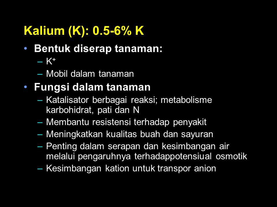 Kalium (K): 0.5-6% K Bentuk diserap tanaman: –K + –Mobil dalam tanaman Fungsi dalam tanaman –Katalisator berbagai reaksi; metabolisme karbohidrat, pat