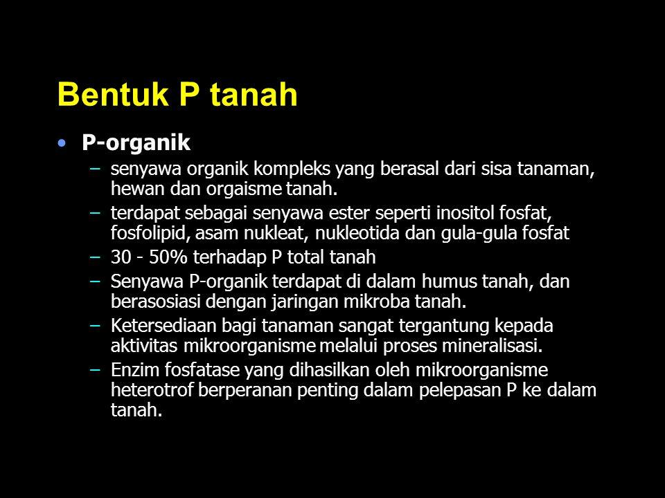 Bentuk P tanah P-organik –senyawa organik kompleks yang berasal dari sisa tanaman, hewan dan orgaisme tanah. –terdapat sebagai senyawa ester seperti i