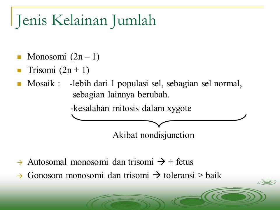 Jenis Kelainan Jumlah Monosomi (2n – 1) Trisomi (2n + 1) Mosaik : -lebih dari 1 populasi sel, sebagian sel normal, sebagian lainnya berubah. -kesalaha