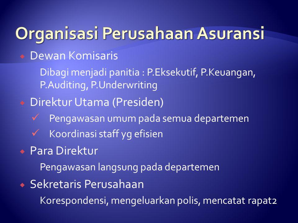  Dewan Komisaris Dibagi menjadi panitia : P.Eksekutif, P.Keuangan, P.Auditing, P.Underwriting  Direktur Utama (Presiden) Pengawasan umum pada semua