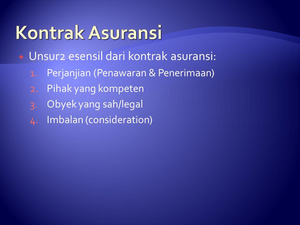 Unsur2 esensil dari kontrak asuransi: 1.Perjanjian (Penawaran & Penerimaan) 2.Pihak yang kompeten 3.Obyek yang sah/legal 4.Imbalan (consideration)