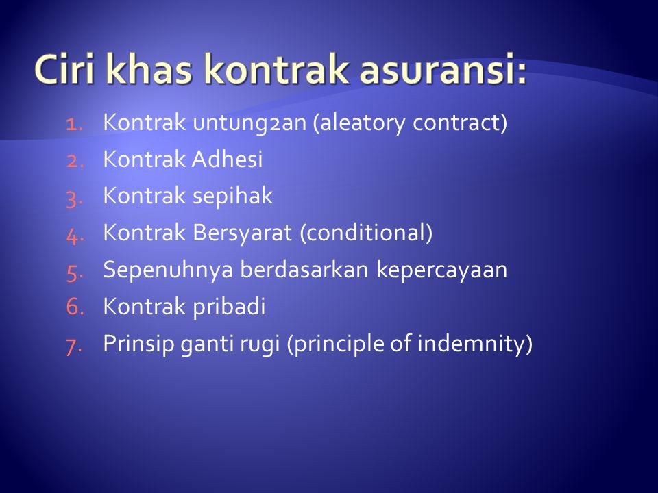 1.Kontrak untung2an (aleatory contract) 2.Kontrak Adhesi 3.Kontrak sepihak 4.Kontrak Bersyarat (conditional) 5.Sepenuhnya berdasarkan kepercayaan 6.Ko