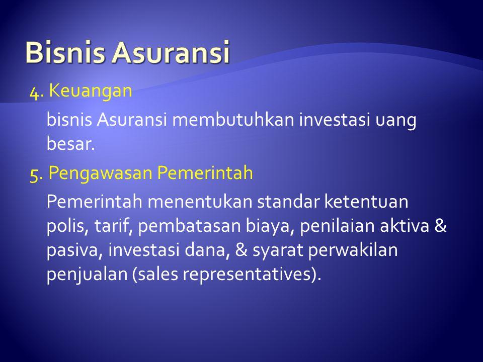 4. Keuangan bisnis Asuransi membutuhkan investasi uang besar. 5. Pengawasan Pemerintah Pemerintah menentukan standar ketentuan polis, tarif, pembatasa
