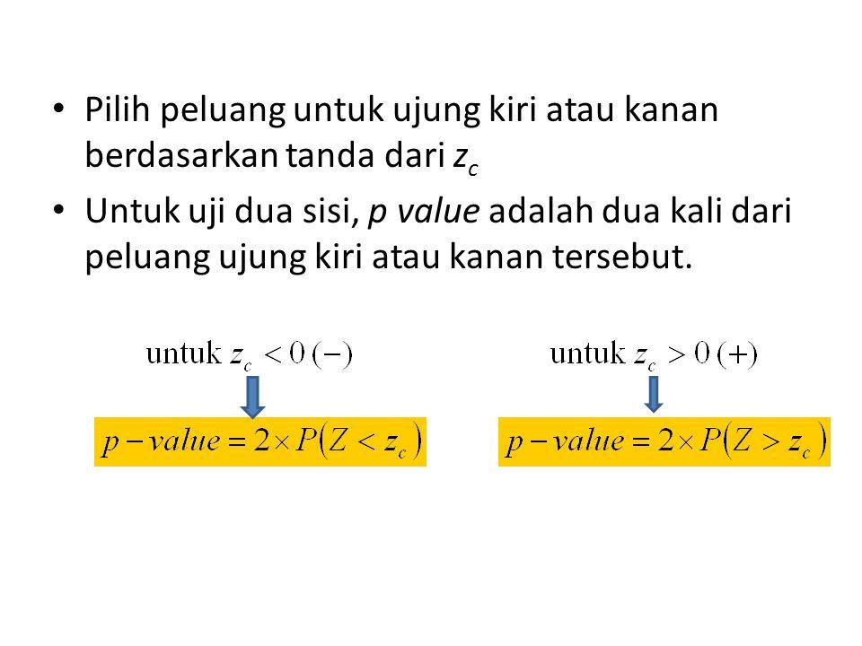 Pilih peluang untuk ujung kiri atau kanan berdasarkan tanda dari z c Untuk uji dua sisi, p value adalah dua kali dari peluang ujung kiri atau kanan tersebut.