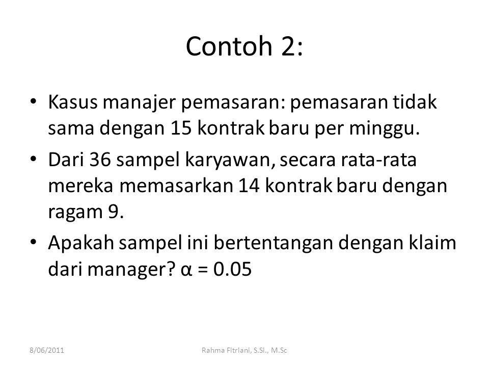 Contoh 2: Kasus manajer pemasaran: pemasaran tidak sama dengan 15 kontrak baru per minggu.