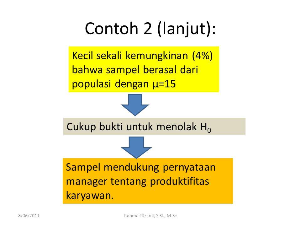 Contoh 2 (lanjut): 8/06/2011Rahma Fitriani, S.Si., M.Sc Kecil sekali kemungkinan (4%) bahwa sampel berasal dari populasi dengan μ=15 Cukup bukti untuk menolak H 0 Sampel mendukung pernyataan manager tentang produktifitas karyawan.