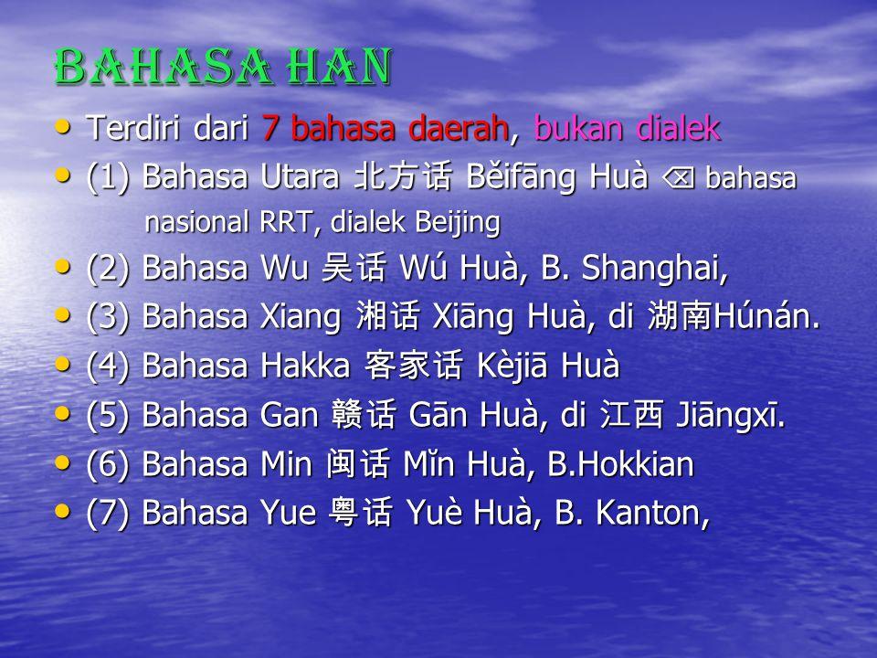 Bahasa Han Terdiri dari 7 bahasa daerah, bukan dialek Terdiri dari 7 bahasa daerah, bukan dialek (1) Bahasa Utara 北方话 Běifāng Huà  bahasa (1) Bahasa Utara 北方话 Běifāng Huà  bahasa nasional RRT, dialek Beijing nasional RRT, dialek Beijing (2) Bahasa Wu 吴话 Wú Huà, B.