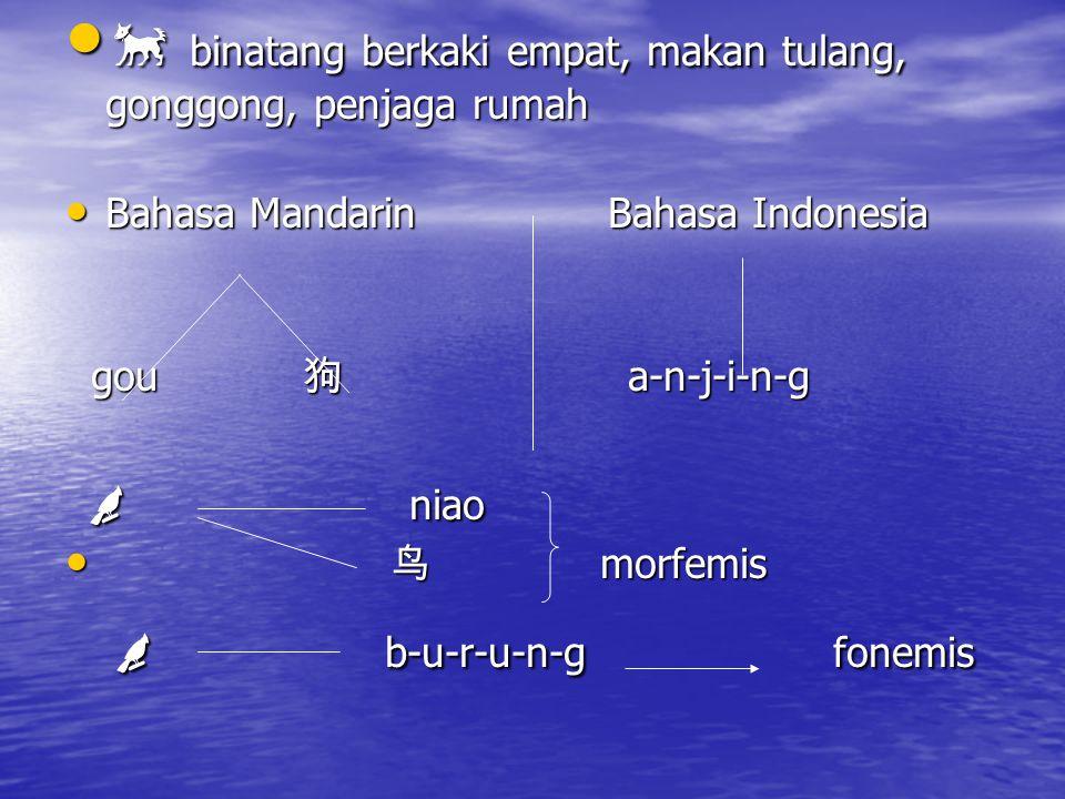  binatang berkaki empat, makan tulang, gonggong, penjaga rumah  binatang berkaki empat, makan tulang, gonggong, penjaga rumah Bahasa Mandarin Bahasa Indonesia Bahasa Mandarin Bahasa Indonesia gou 狗 a-n-j-i-n-g gou 狗 a-n-j-i-n-g  niao  niao 鸟 morfemis 鸟 morfemis  b-u-r-u-n-g fonemis