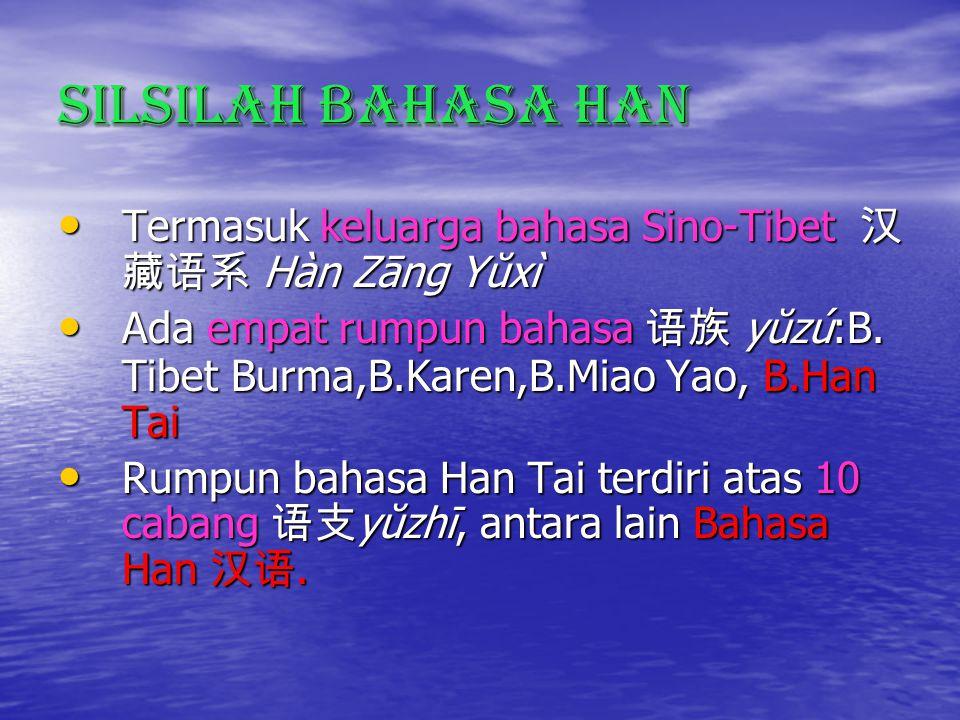 Silsilah Bahasa Han Termasuk keluarga bahasa Sino-Tibet 汉 藏语系 Hàn Zāng Yŭxì Termasuk keluarga bahasa Sino-Tibet 汉 藏语系 Hàn Zāng Yŭxì Ada empat rumpun bahasa 语族 yŭzú:B.