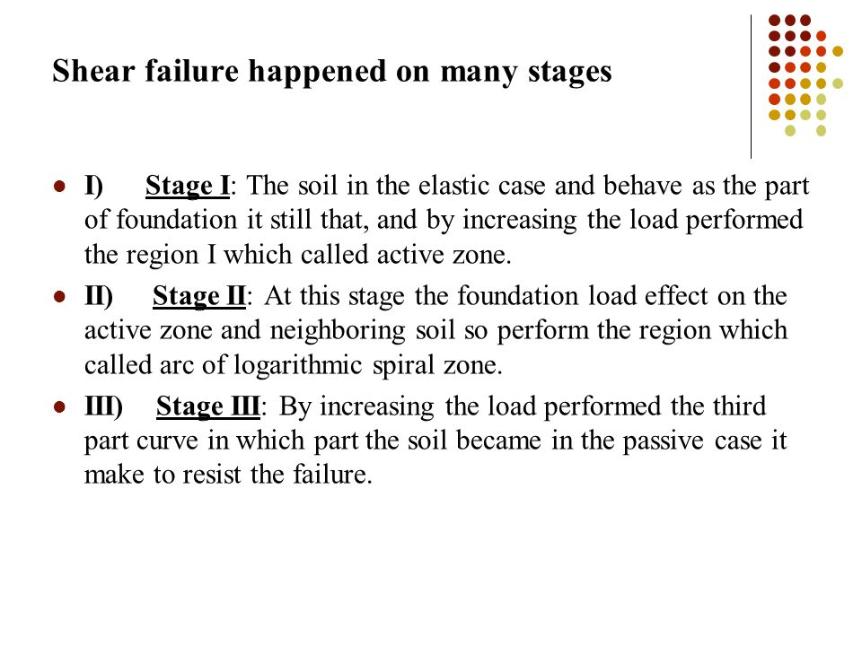 Shear failure happened on many stages I) Stage I: The soil in the elastic case and behave as the part of foundation it still that, and by increasing the load performed the region I which called active zone.