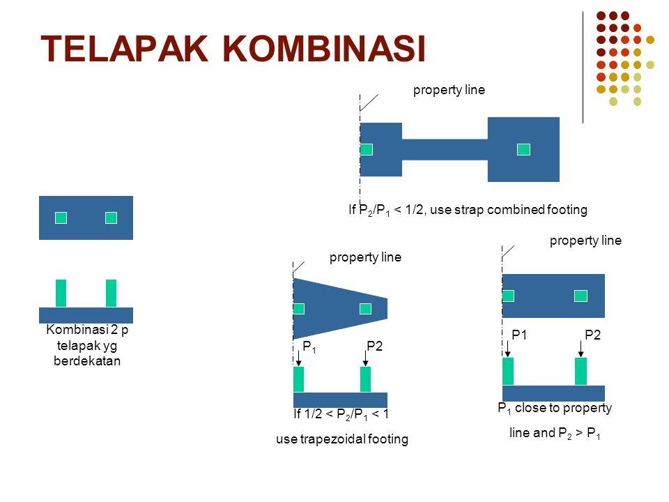 TELAPAK KOMBINASI Kombinasi 2 p telapak yg berdekatan P 1 close to property line and P 2 > P 1 property line P1P2 If P 2 /P 1 < 1/2, use strap combine