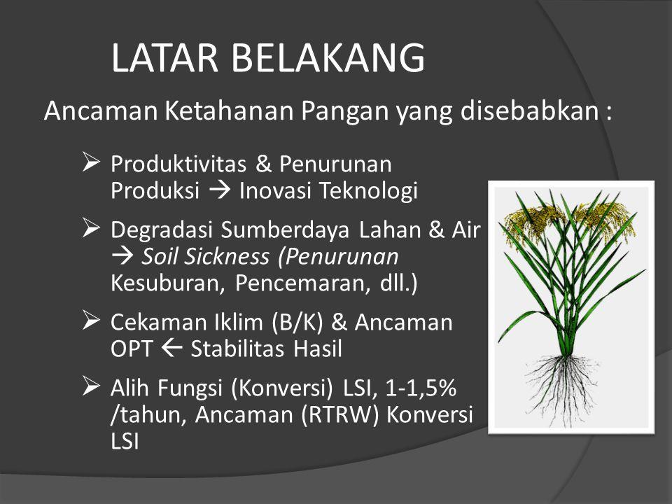  Produktivitas & Penurunan Produksi  Inovasi Teknologi  Degradasi Sumberdaya Lahan & Air  Soil Sickness (Penurunan Kesuburan, Pencemaran, dll.) 