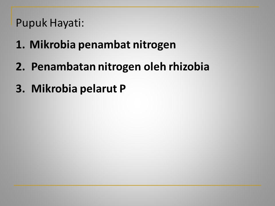 Pupuk Hayati: 1.Mikrobia penambat nitrogen 2.Penambatan nitrogen oleh rhizobia 3.Mikrobia pelarut P