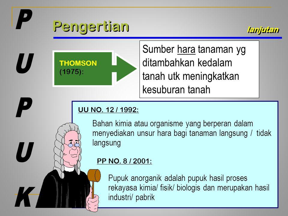 Pengertian lanjutan THOMSON (1975): Sumber hara tanaman yg ditambahkan kedalam tanah utk meningkatkan kesuburan tanah UU NO. 12 / 1992: Bahan kimia at