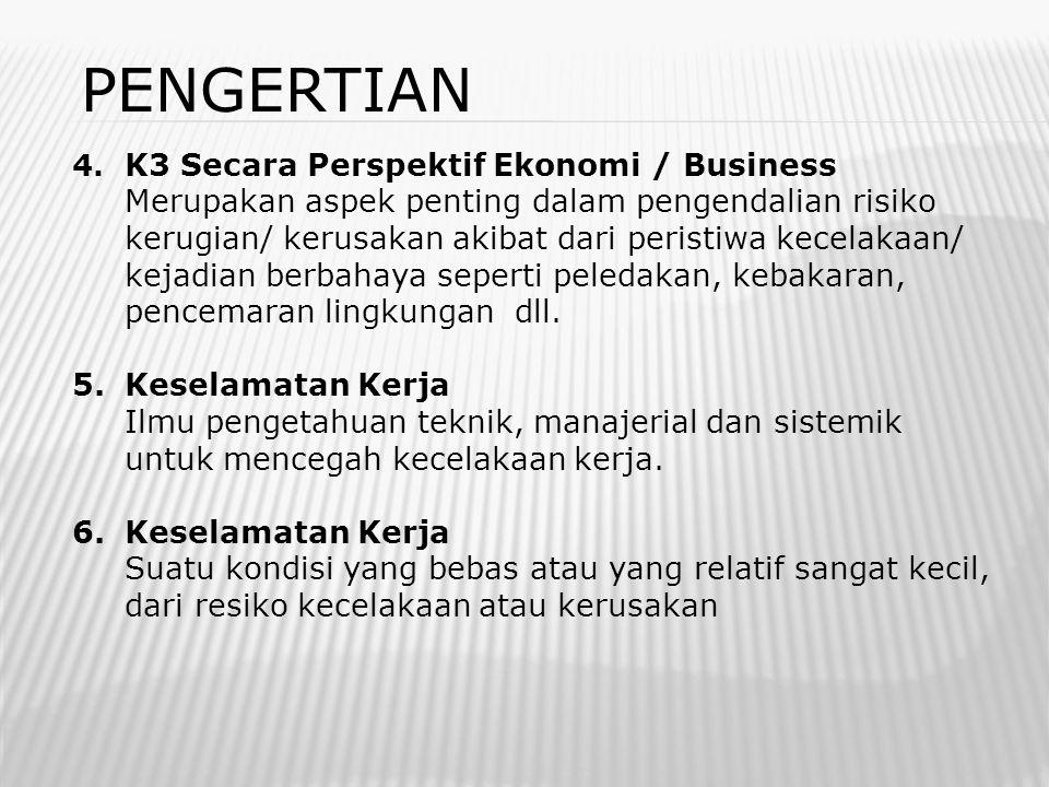 PENGERTIAN 4. K3 Secara Perspektif Ekonomi / Business Merupakan aspek penting dalam pengendalian risiko kerugian/ kerusakan akibat dari peristiwa kece