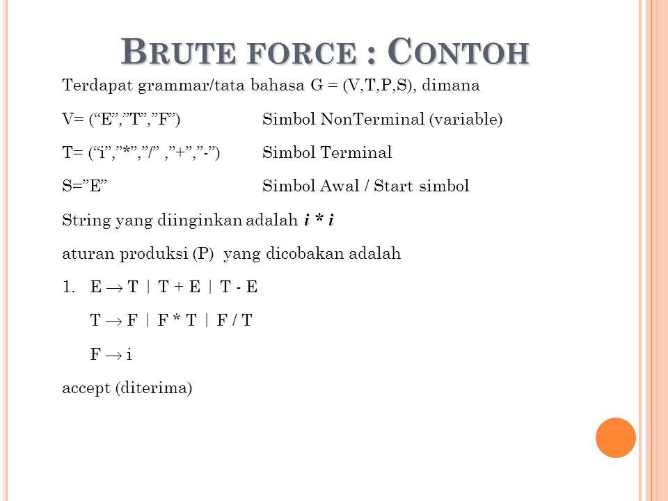 "B RUTE FORCE : C ONTOH Terdapat grammar/tata bahasa G = (V,T,P,S), dimana V= (""E"",""T"",""F"")Simbol NonTerminal (variable) T= (""i"",""*"",""/"",""+"",""-"")Simbol"