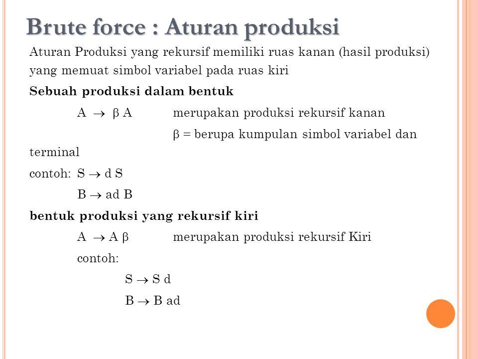Brute force : Aturan produksi Aturan Produksi yang rekursif memiliki ruas kanan (hasil produksi) yang memuat simbol variabel pada ruas kiri Sebuah pro