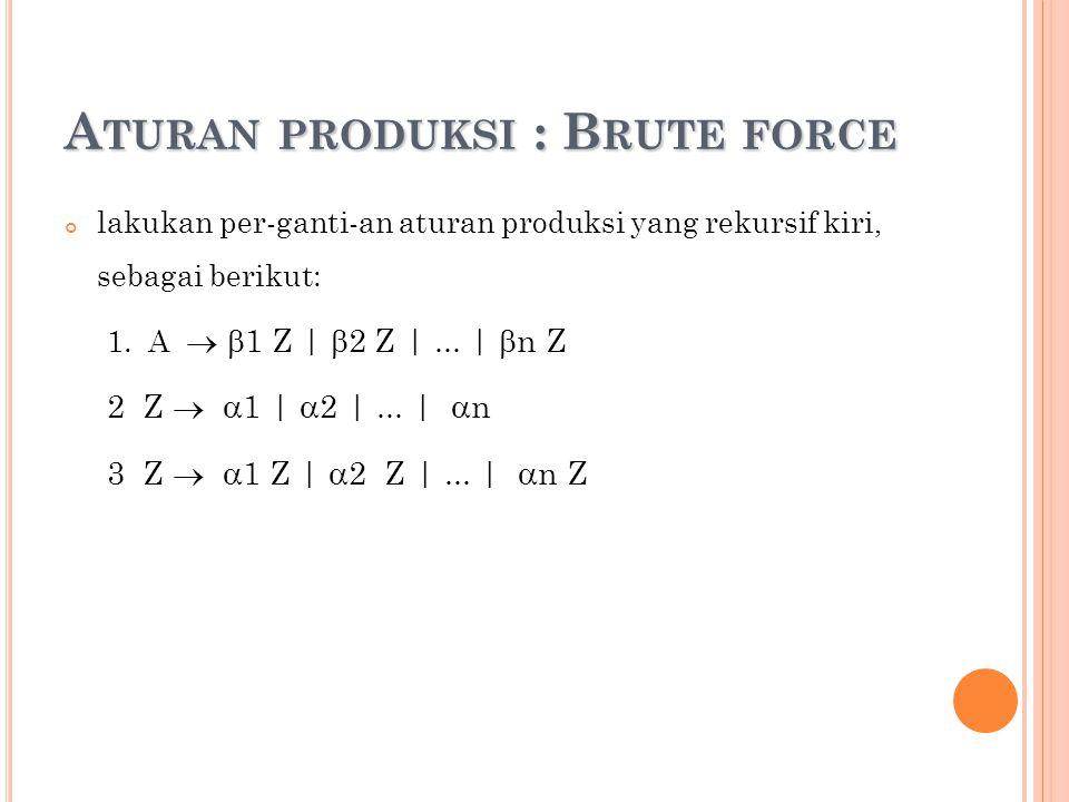 A TURAN PRODUKSI : B RUTE FORCE lakukan per-ganti-an aturan produksi yang rekursif kiri, sebagai berikut: 1. A   1 Z |  2 Z |... |  n Z 2 Z   1