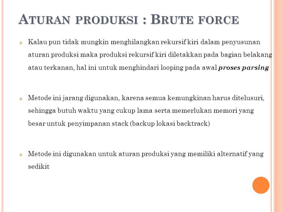 A TURAN PRODUKSI : B RUTE FORCE A TURAN PRODUKSI : B RUTE FORCE Kalau pun tidak mungkin menghilangkan rekursif kiri dalam penyusunan aturan produksi m