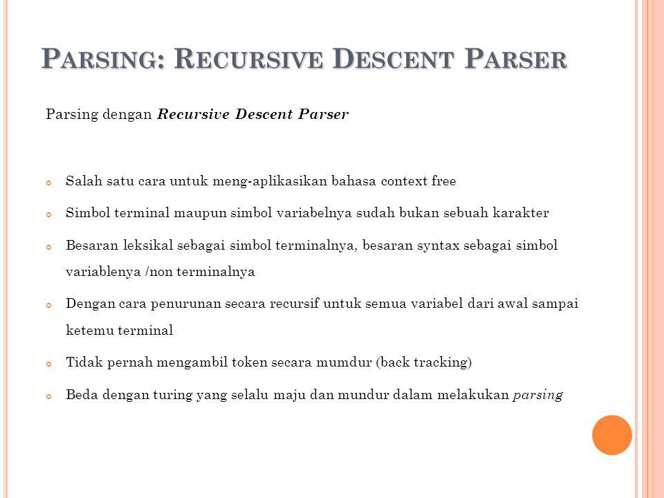P ARSING : R ECURSIVE D ESCENT P ARSER Parsing dengan Recursive Descent Parser Salah satu cara untuk meng-aplikasikan bahasa context free Simbol termi