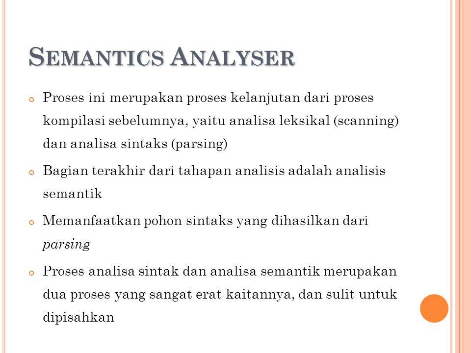 S EMANTICS A NALYSER Proses ini merupakan proses kelanjutan dari proses kompilasi sebelumnya, yaitu analisa leksikal (scanning) dan analisa sintaks (p