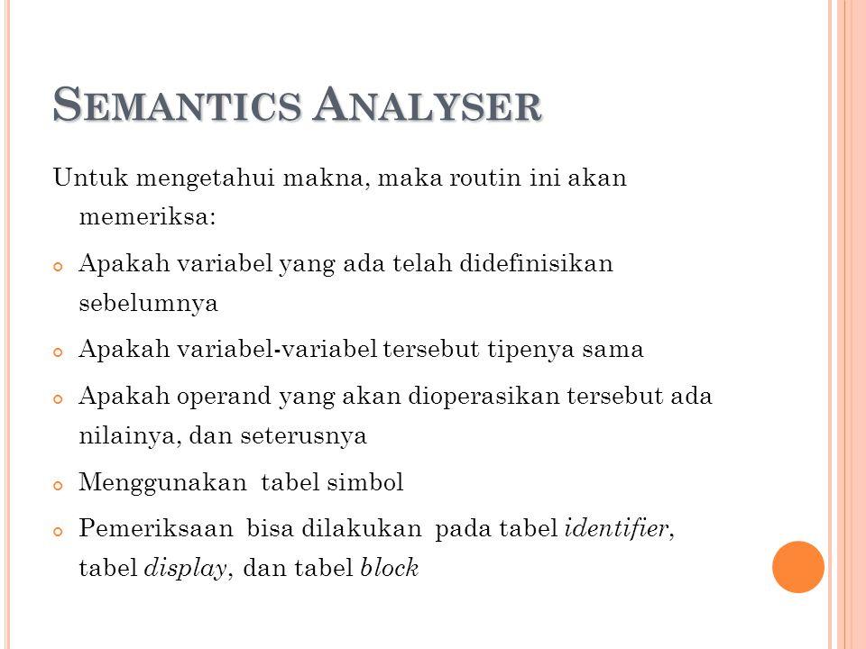 S EMANTICS A NALYSER Untuk mengetahui makna, maka routin ini akan memeriksa: Apakah variabel yang ada telah didefinisikan sebelumnya Apakah variabel-v