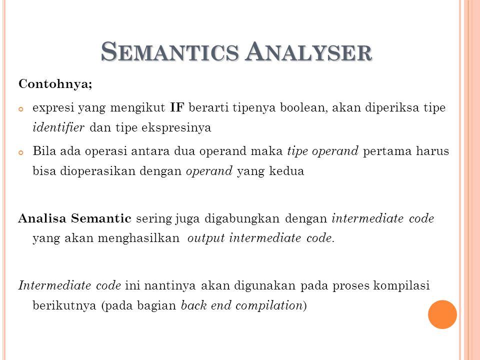 S EMANTICS A NALYSER Contohnya; expresi yang mengikut IF berarti tipenya boolean, akan diperiksa tipe identifier dan tipe ekspresinya Bila ada operasi