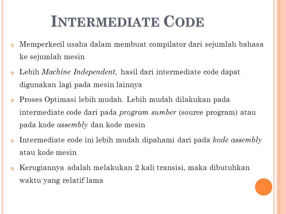 I NTERMEDIATE C ODE Memperkecil usaha dalam membuat compilator dari sejumlah bahasa ke sejumlah mesin Lebih Machine Independent, hasil dari intermedia