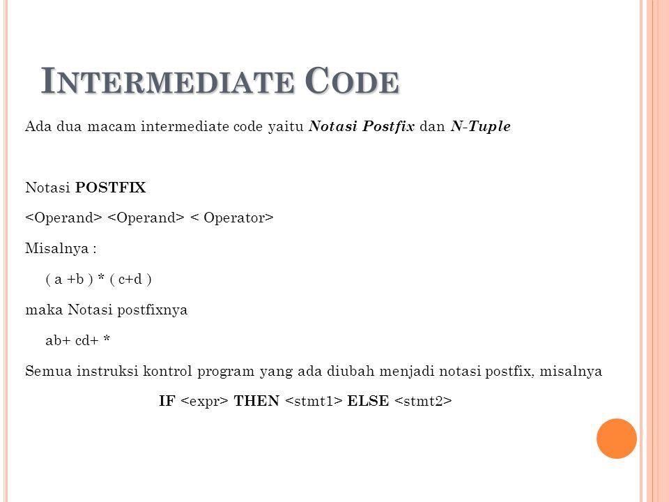 I NTERMEDIATE C ODE Ada dua macam intermediate code yaitu Notasi Postfix dan N-Tuple Notasi POSTFIX Misalnya : ( a +b ) * ( c+d ) maka Notasi postfixn