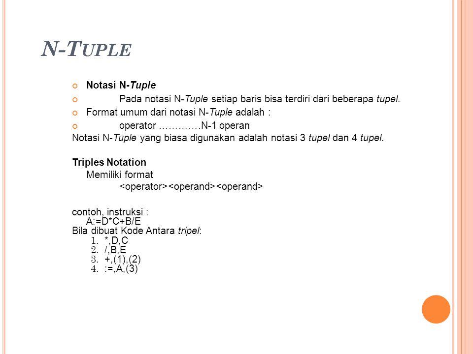 N-T UPLE Notasi N-Tuple Pada notasi N-Tuple setiap baris bisa terdiri dari beberapa tupel. Format umum dari notasi N-Tuple adalah : operator ………….N-1