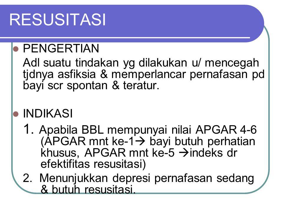 Dari hasil penilaian tsb dpt diketahui keadaan bayi dgn kriteria sbb : Nilai APGAR 7 – 10 : Bayi normal Nilai APGAR 4 – 6 : Asfiksia ringan – sedang N