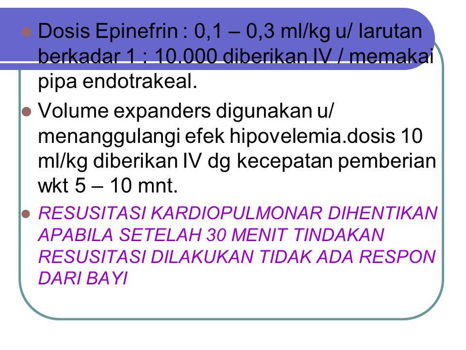 MEMBERIKAN OBAT2XAN Obat2xan diberikan bila Frekuensi jantung bayi ttp dibawah 60x/mnt wlaupun telah dilakukan ventilasi adekuat (dg O 2 100%) & kompr