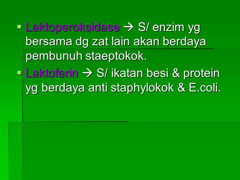  Antibodi thd penyakit  batuk rejan,difteri, radang paru,peny. Sal pencernaan,acam2x peny. Virus (radang otak,gondongan, influensa & cacar).  Kompl