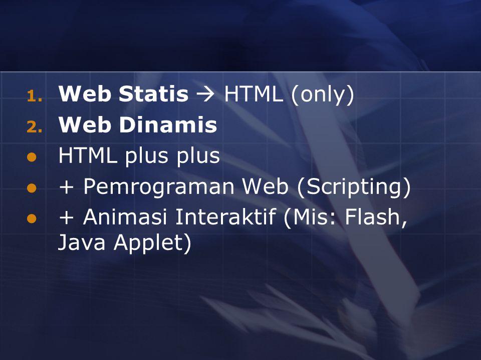 1. Web Statis  HTML (only) 2. Web Dinamis HTML plus plus + Pemrograman Web (Scripting) + Animasi Interaktif (Mis: Flash, Java Applet)