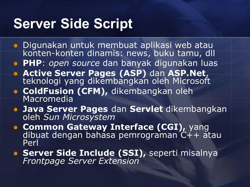 Server Side Script Digunakan untuk membuat aplikasi web atau konten-konten dinamis: news, buku tamu, dll PHP: open source dan banyak digunakan luas Active Server Pages (ASP) dan ASP.Net, teknologi yang dikembangkan oleh Microsoft ColdFusion (CFM), dikembangkan oleh Macromedia Java Server Pages dan Servlet dikembangkan oleh Sun Microsystem Common Gateway Interface (CGI), yang dibuat dengan bahasa pemrograman C++ atau Perl Server Side Include (SSI), seperti misalnya Frontpage Server Extension