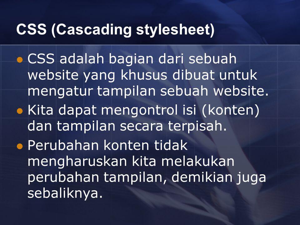 CSS (Cascading stylesheet) CSS adalah bagian dari sebuah website yang khusus dibuat untuk mengatur tampilan sebuah website. Kita dapat mengontrol isi