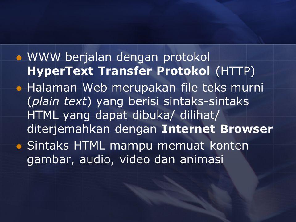 WWW berjalan dengan protokol HyperText Transfer Protokol (HTTP) Halaman Web merupakan file teks murni (plain text) yang berisi sintaks-sintaks HTML yang dapat dibuka/ dilihat/ diterjemahkan dengan Internet Browser Sintaks HTML mampu memuat konten gambar, audio, video dan animasi