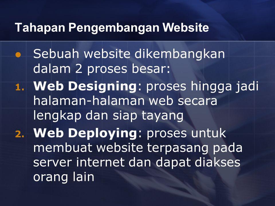 Tahapan Pengembangan Website Sebuah website dikembangkan dalam 2 proses besar: 1. Web Designing: proses hingga jadi halaman-halaman web secara lengkap